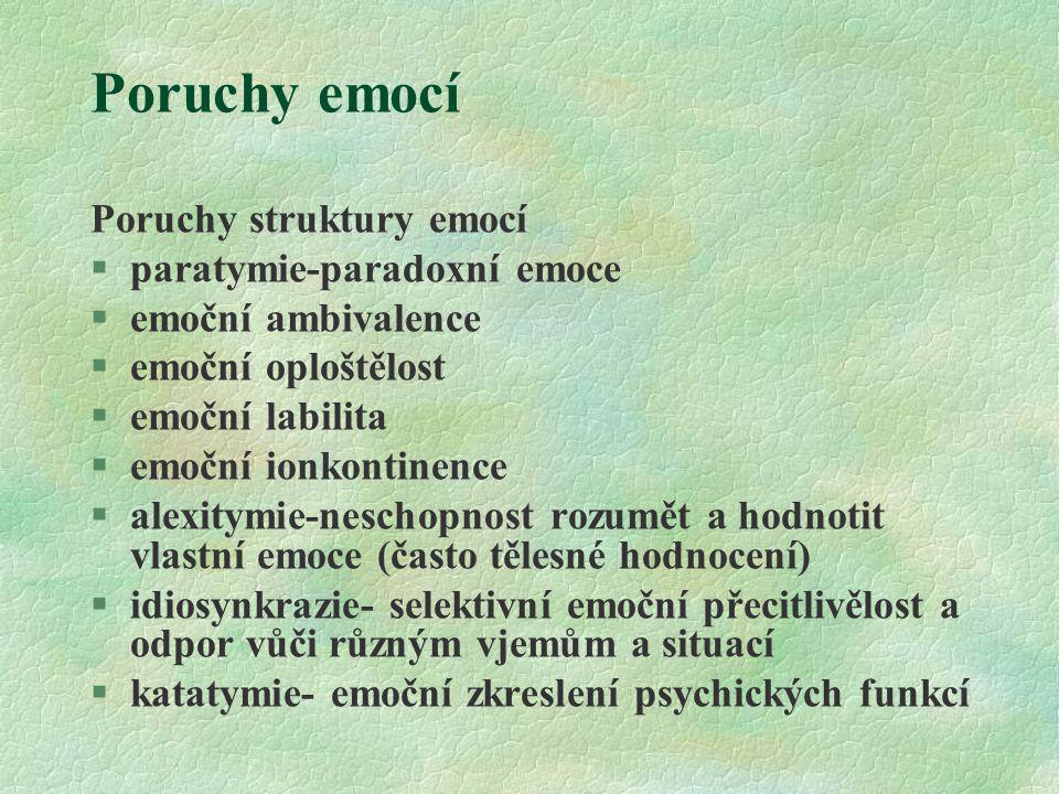 Poruchy emocí Poruchy struktury emocí §paratymie-paradoxní emoce §emoční ambivalence §emoční oploštělost §emoční labilita §emoční ionkontinence §alexi