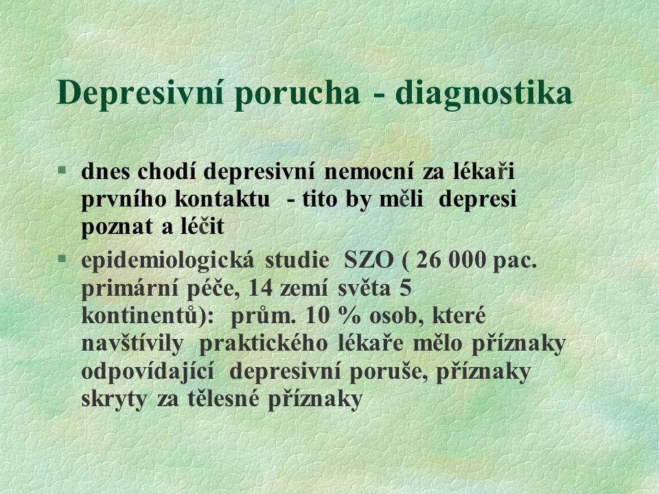 Depresivní porucha - diagnostika §dnes chodí depresivní nemocní za lékaři prvního kontaktu - tito by měli depresi poznat a léčit §epidemiologická stud
