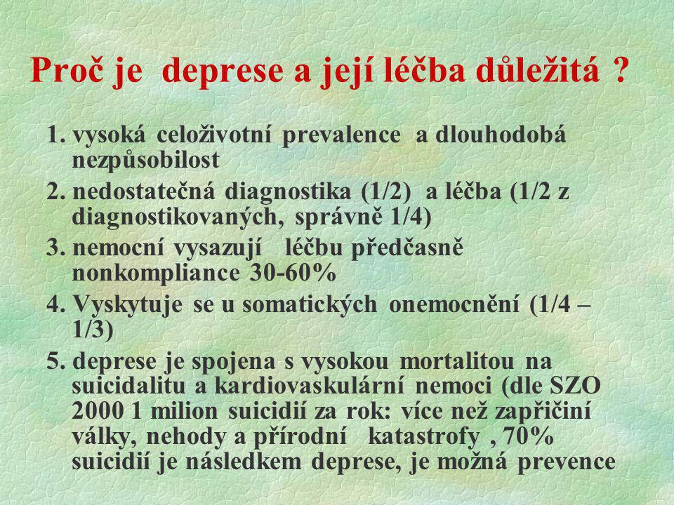 Proč je deprese a její léčba důležitá ? 1. vysoká celoživotní prevalence a dlouhodobá nezpůsobilost 2. nedostatečná diagnostika (1/2) a léčba (1/2 z d