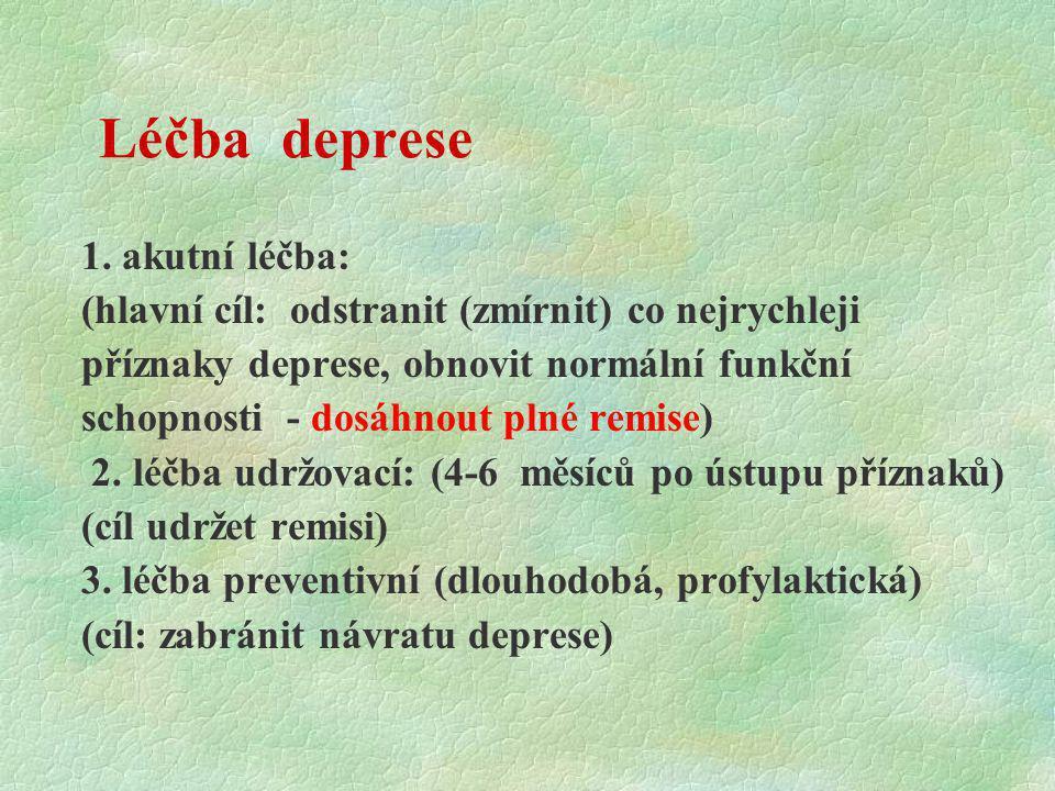 Léčba deprese 1. akutní léčba: (hlavní cíl: odstranit (zmírnit) co nejrychleji příznaky deprese, obnovit normální funkční schopnosti - dosáhnout plné