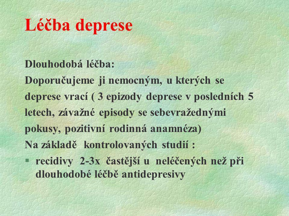 Léčba deprese Dlouhodobá léčba: Doporučujeme ji nemocným, u kterých se deprese vrací ( 3 epizody deprese v posledních 5 letech, závažné episody se seb