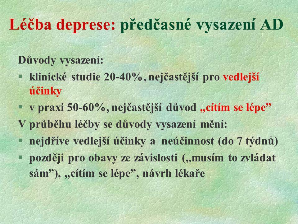 """Léčba deprese: předčasné vysazení AD Důvody vysazení: §klinické studie 20-40%, nejčastější pro vedlejší účinky §v praxi 50-60%, nejčastější důvod """"cít"""