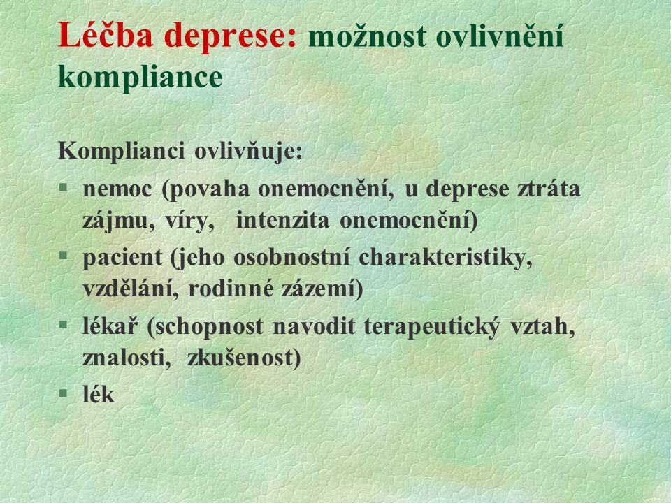 Léčba deprese: možnost ovlivnění kompliance Komplianci ovlivňuje: §nemoc (povaha onemocnění, u deprese ztráta zájmu, víry, intenzita onemocnění) §paci