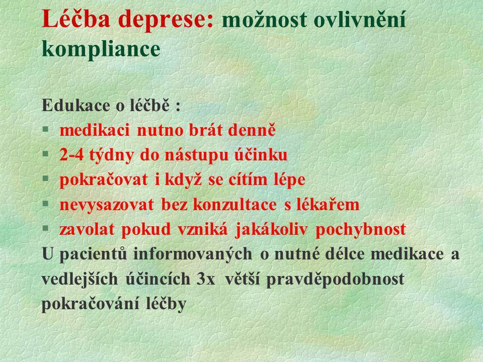Léčba deprese: možnost ovlivnění kompliance Edukace o léčbě : §medikaci nutno brát denně §2-4 týdny do nástupu účinku §pokračovat i když se cítím lépe