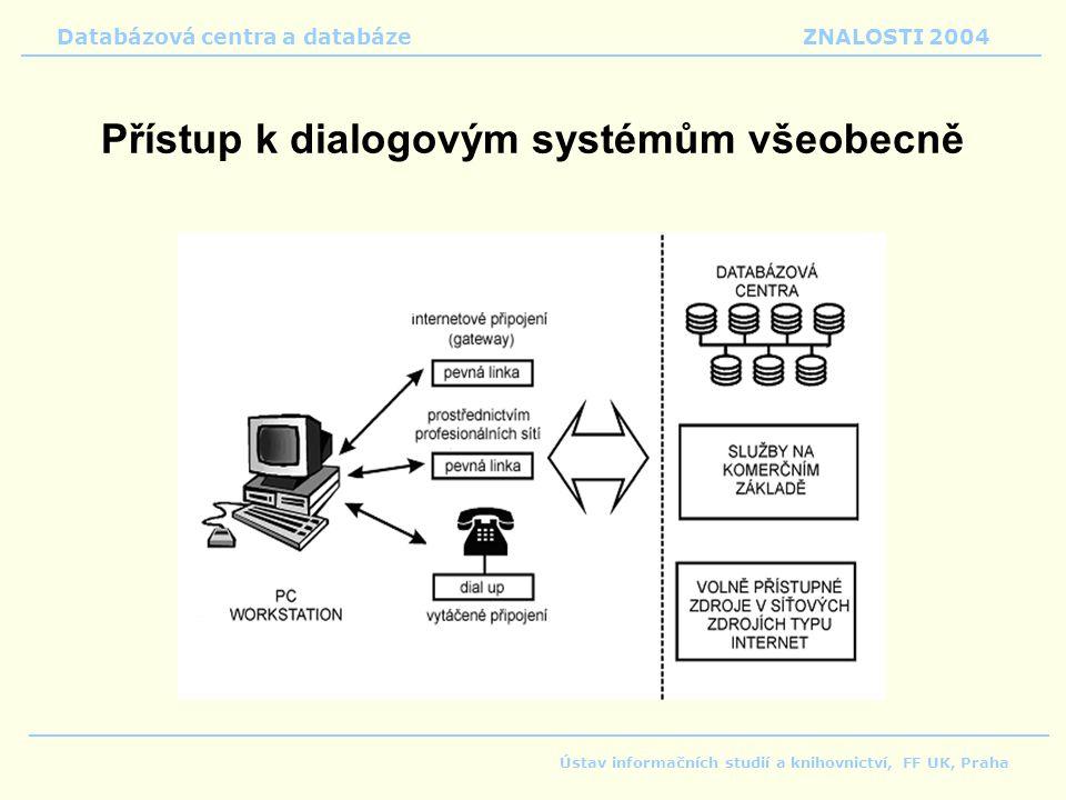 Přístup k dialogovým systémům všeobecně Databázová centra a databáze ZNALOSTI 2004 Ústav informačních studií a knihovnictví, FF UK, Praha