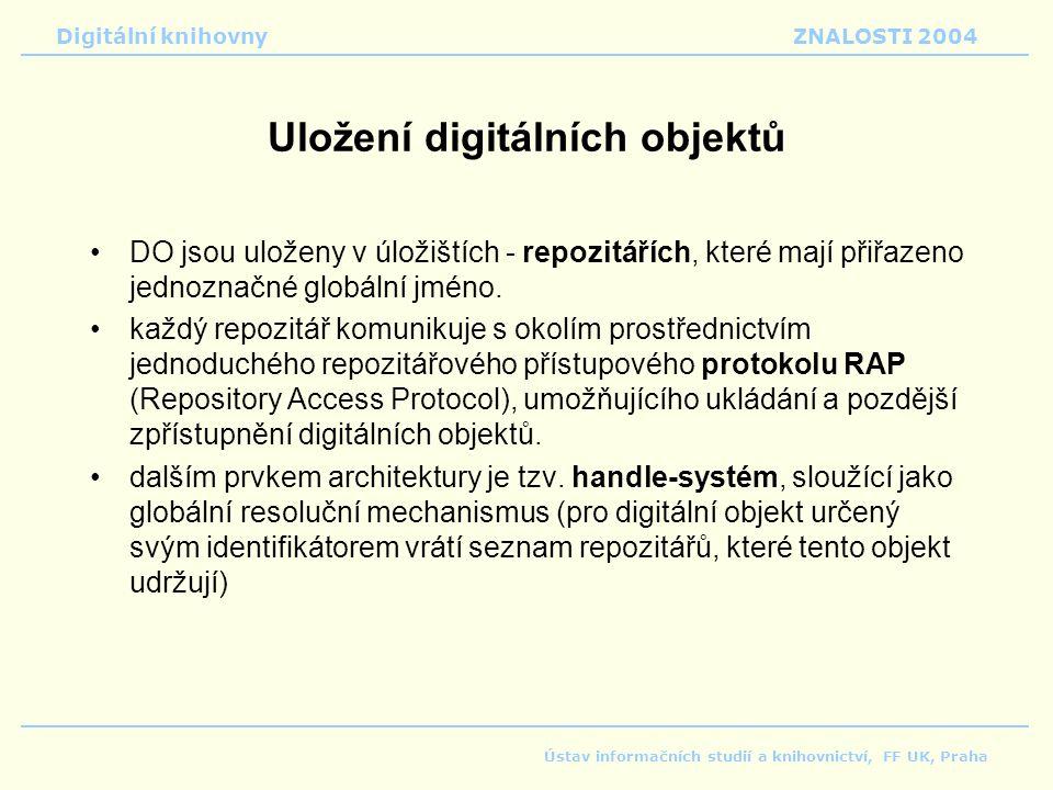 Digitální knihovnyZNALOSTI 2004 Ústav informačních studií a knihovnictví, FF UK, Praha Uložení digitálních objektů DO jsou uloženy v úložištích - repozitářích, které mají přiřazeno jednoznačné globální jméno.