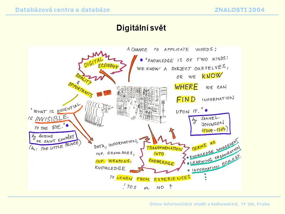 Databázová centra a databáze ZNALOSTI 2004 Ústav informačních studií a knihovnictví, FF UK, Praha Digitální svět
