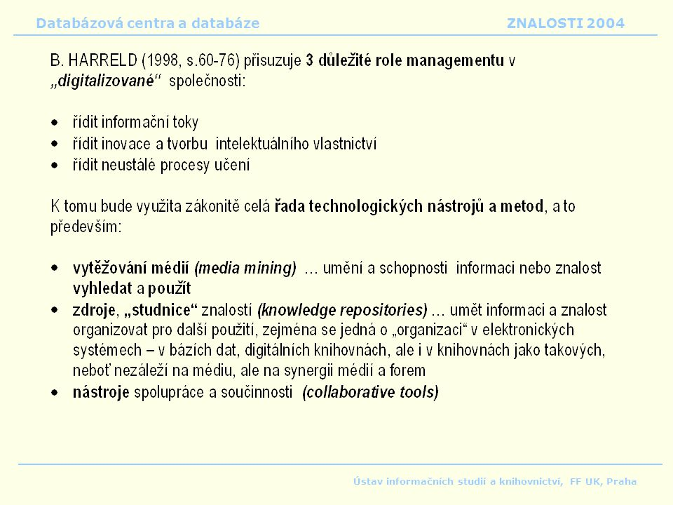 Databázová centra a databáze ZNALOSTI 2004 Ústav informačních studií a knihovnictví, FF UK, Praha