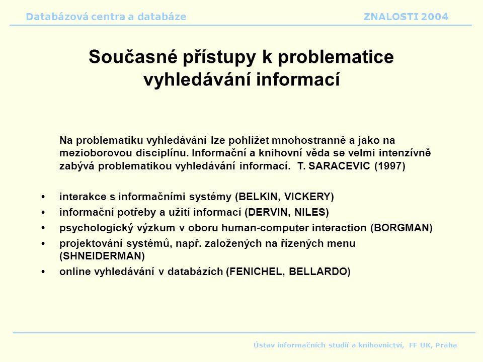 Databázová centra a databáze ZNALOSTI 2004 Ústav informačních studií a knihovnictví, FF UK, Praha Současné přístupy k problematice vyhledávání informací Na problematiku vyhledávání lze pohlížet mnohostranně a jako na mezioborovou disciplínu.