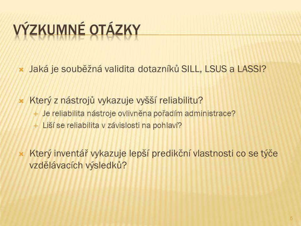  Jaká je souběžná validita dotazníků SILL, LSUS a LASSI.
