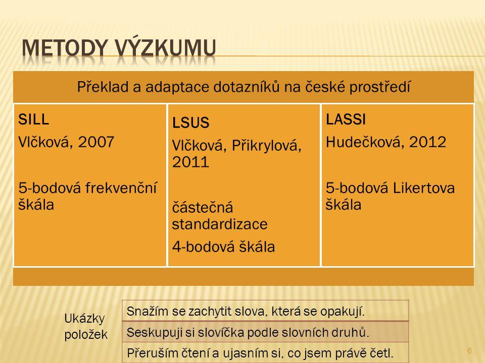 Překlad a adaptace dotazníků na české prostředí SILL Vlčková, 2007 5-bodová frekvenční škála LSUS Vlčková, Přikrylová, 2011 částečná standardizace 4-bodová škála LASSI Hudečková, 2012 5-bodová Likertova škála 6 Snažím se zachytit slova, která se opakují.