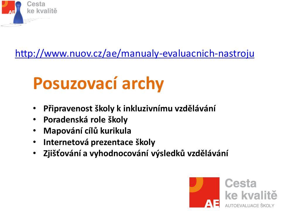http://www.nuov.cz/ae/manualy-evaluacnich-nastroju Posuzovací archy Připravenost školy k inkluzivnímu vzdělávání Poradenská role školy Mapování cílů kurikula Internetová prezentace školy Zjišťování a vyhodnocování výsledků vzdělávání