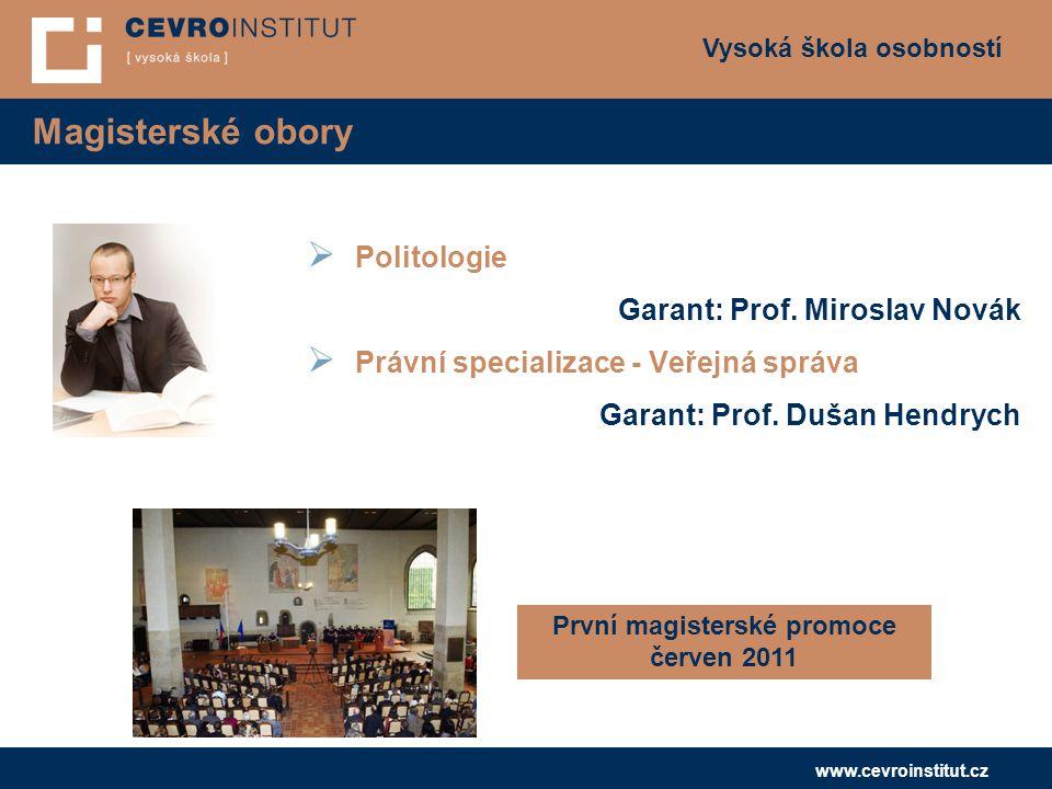 Vysoká škola osobností www.cevroinstitut.cz Magisterské obory  Politologie Garant: Prof. Miroslav Novák  Právní specializace - Veřejná správa Garant
