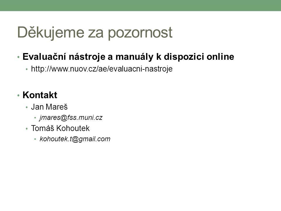 Děkujeme za pozornost Evaluační nástroje a manuály k dispozici online http://www.nuov.cz/ae/evaluacni-nastroje Kontakt Jan Mareš jmares@fss.muni.cz To