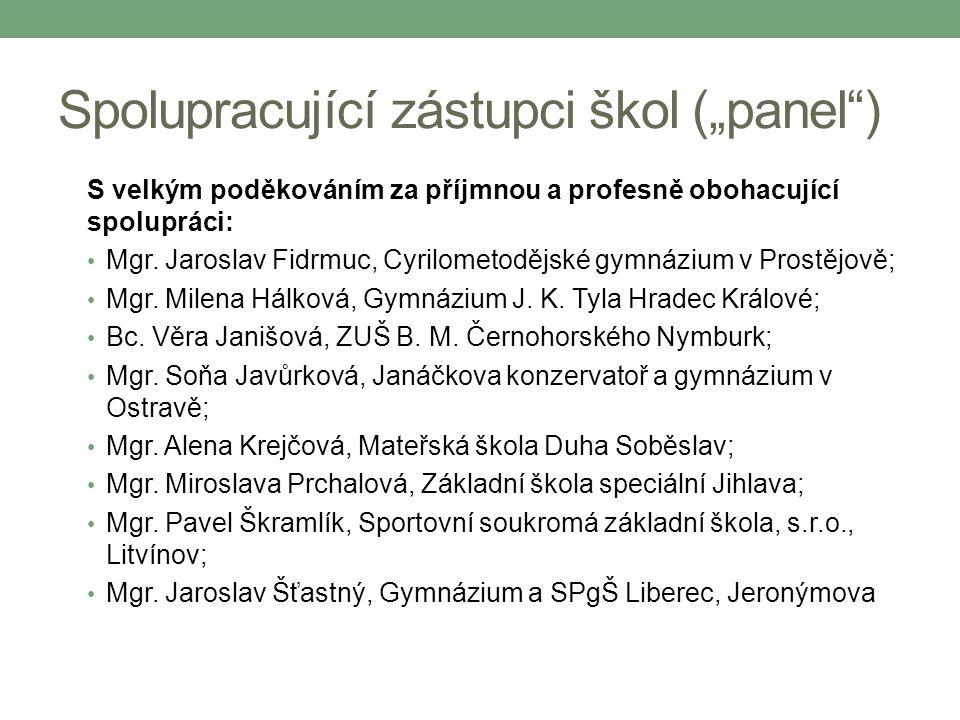 """Spolupracující zástupci škol (""""panel"""") S velkým poděkováním za příjmnou a profesně obohacující spolupráci: Mgr. Jaroslav Fidrmuc, Cyrilometodějské gym"""