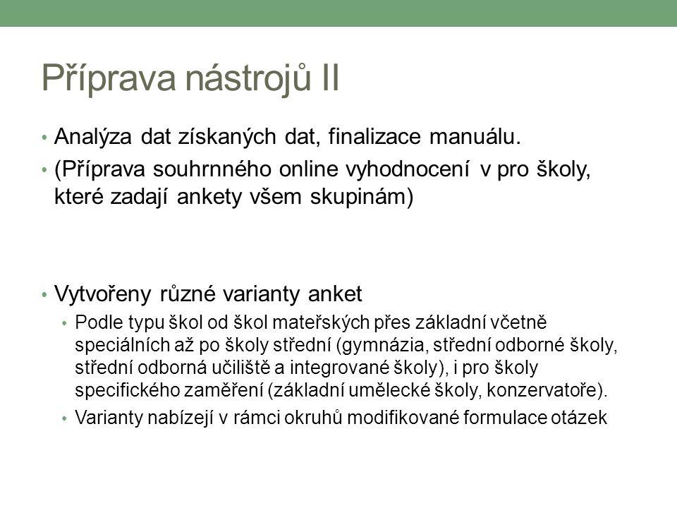 Příprava nástrojů II Analýza dat získaných dat, finalizace manuálu. (Příprava souhrnného online vyhodnocení v pro školy, které zadají ankety všem skup