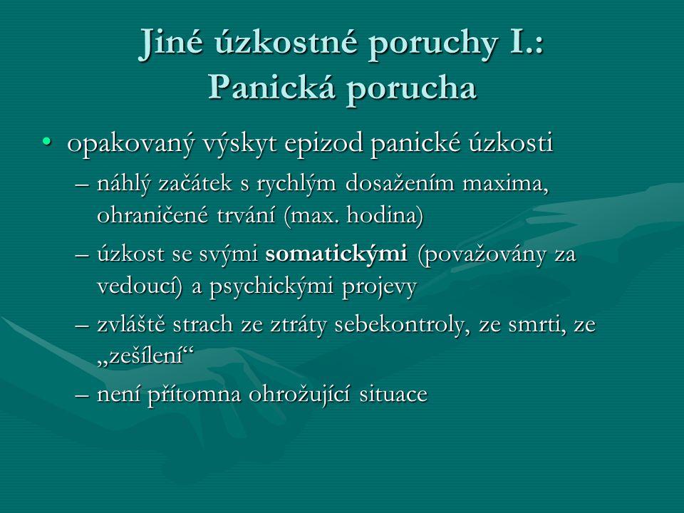 Jiné úzkostné poruchy I.: Panická porucha opakovaný výskyt epizod panické úzkostiopakovaný výskyt epizod panické úzkosti –náhlý začátek s rychlým dosažením maxima, ohraničené trvání (max.