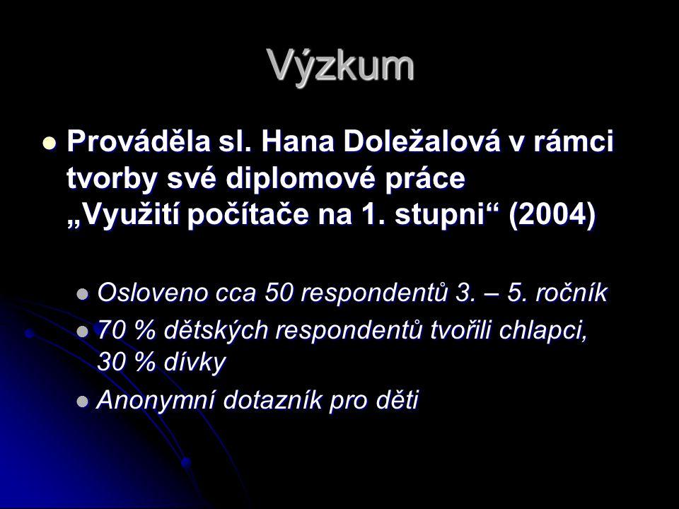 """Výzkum Prováděla sl. Hana Doležalová v rámci tvorby své diplomové práce """"Využití počítače na 1."""