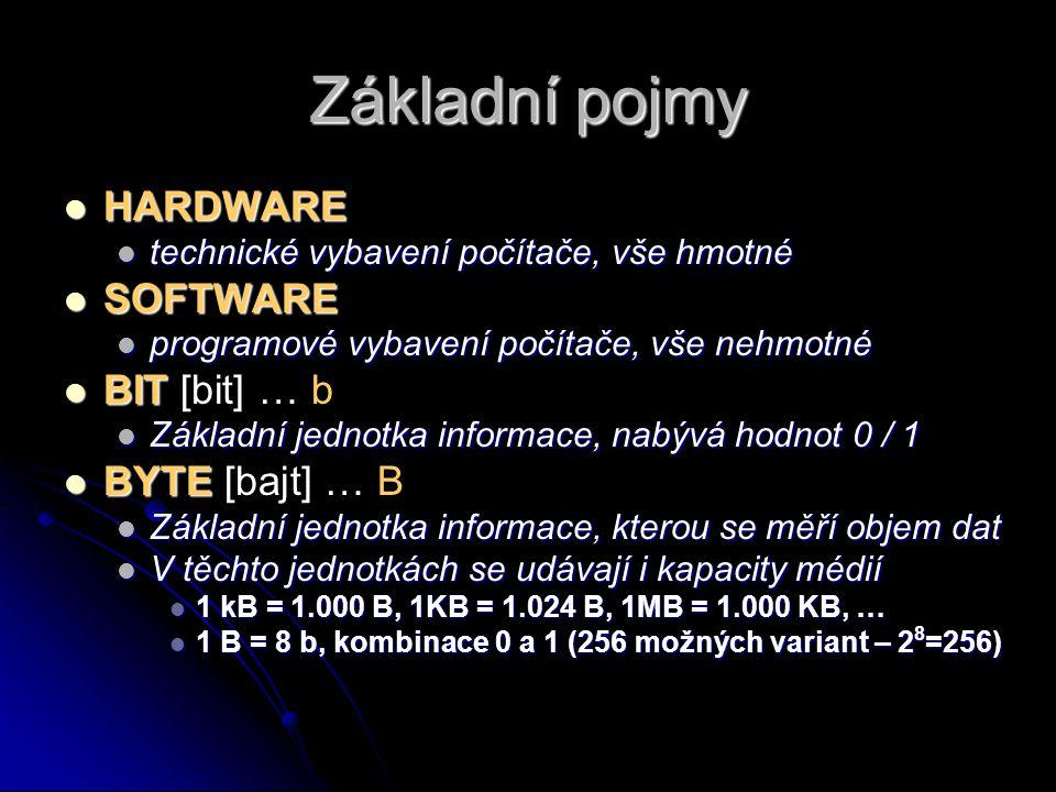Základní pojmy HARDWARE HARDWARE technické vybavení počítače, vše hmotné technické vybavení počítače, vše hmotné SOFTWARE SOFTWARE programové vybavení počítače, vše nehmotné programové vybavení počítače, vše nehmotné BIT BIT [bit] … b Základní jednotka informace, nabývá hodnot 0 / 1 Základní jednotka informace, nabývá hodnot 0 / 1 BYTE BYTE [bajt] … B Základní jednotka informace, kterou se měří objem dat Základní jednotka informace, kterou se měří objem dat V těchto jednotkách se udávají i kapacity médií V těchto jednotkách se udávají i kapacity médií 1 kB = 1.000 B, 1KB = 1.024 B, 1MB = 1.000 KB, … 1 kB = 1.000 B, 1KB = 1.024 B, 1MB = 1.000 KB, … 1 B = 8 b, kombinace 0 a 1 (256 možných variant – 2 8 =256) 1 B = 8 b, kombinace 0 a 1 (256 možných variant – 2 8 =256)