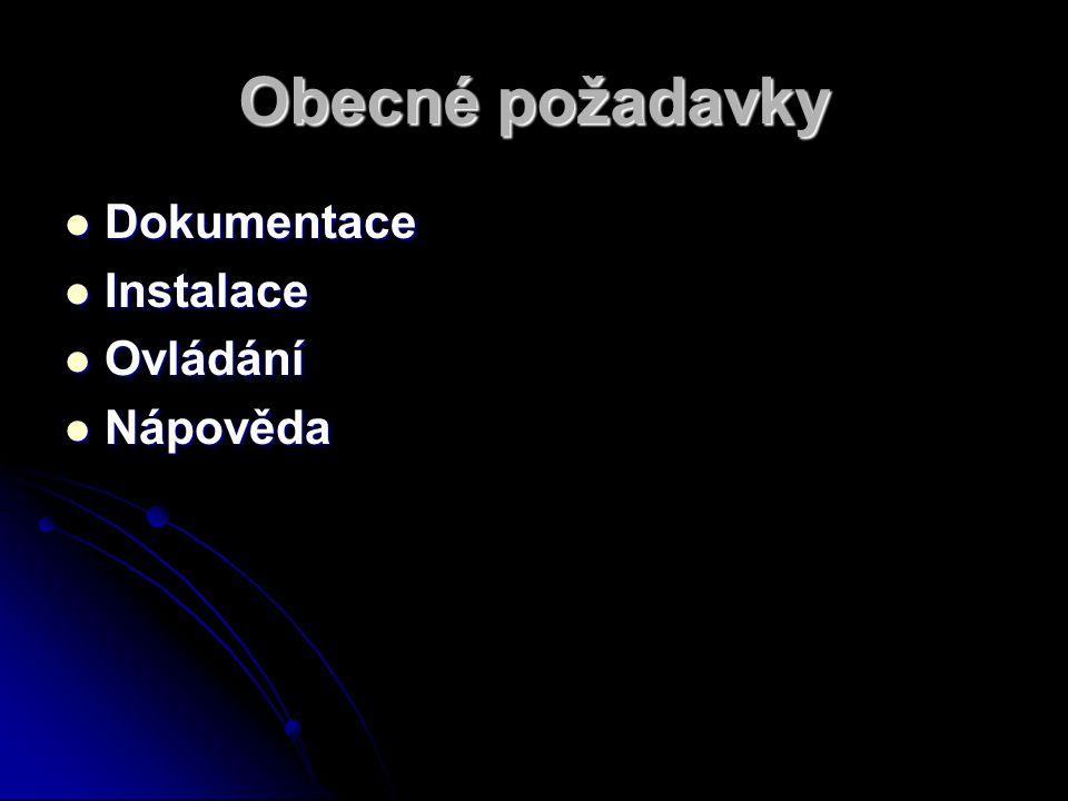 Obecné požadavky Dokumentace Dokumentace Instalace Instalace Ovládání Ovládání Nápověda Nápověda