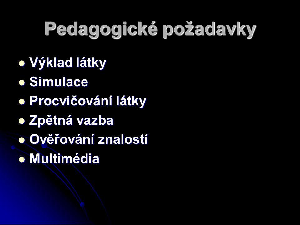 Pedagogické požadavky Výklad látky Výklad látky Simulace Simulace Procvičování látky Procvičování látky Zpětná vazba Zpětná vazba Ověřování znalostí Ověřování znalostí Multimédia Multimédia