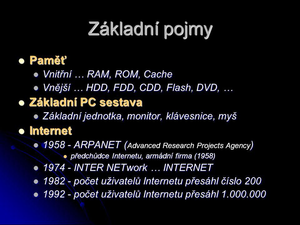 STRUČNÁ HISTORIE ROK CO SE DĚLO 1944 ENIAC ENIAC 1948 TRANZISTOR TRANZISTOR 1954 HROMADNÁ VÝROBA TRANZISTORŮ HROMADNÁ VÝROBA TRANZISTORŮ 1971 VÝROBA MIKROPROCESORŮ VÝROBA MIKROPROCESORŮ 1981 IBM PC IBM PC
