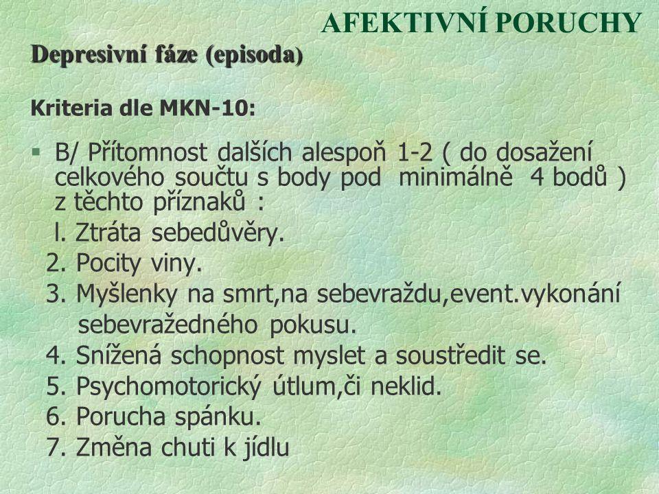 AFEKTIVNÍ PORUCHY Depresivní fáze (episoda ) Kriteria dle MKN-10: §B/ Přítomnost dalších alespoň 1-2 ( do dosažení celkového součtu s body pod minimál