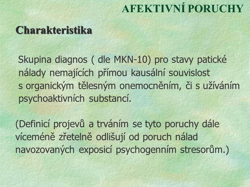 AFEKTIVNÍ PORUCHY Charakteristika Skupina diagnos ( dle MKN-10) pro stavy patické nálady nemajících přímou kausální souvislost s organickým tělesným o