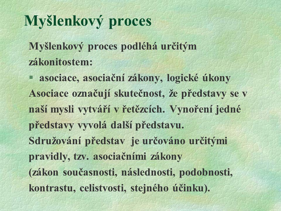 Myšlenkový proces Logické úkony: §porovnání a rozlišování §analýza a syntéza §indukce a dedukce §abstrakce a konkretizace §vytváření soudů