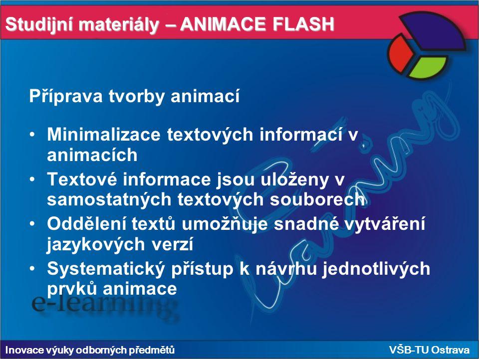 Inovace výuky odborných předmětů VŠB-TU Ostrava Studijní materiály – ANIMACE FLASH Příprava tvorby animací Minimalizace textových informací v animacích Textové informace jsou uloženy v samostatných textových souborech Oddělení textů umožňuje snadné vytváření jazykových verzí Systematický přístup k návrhu jednotlivých prvků animace