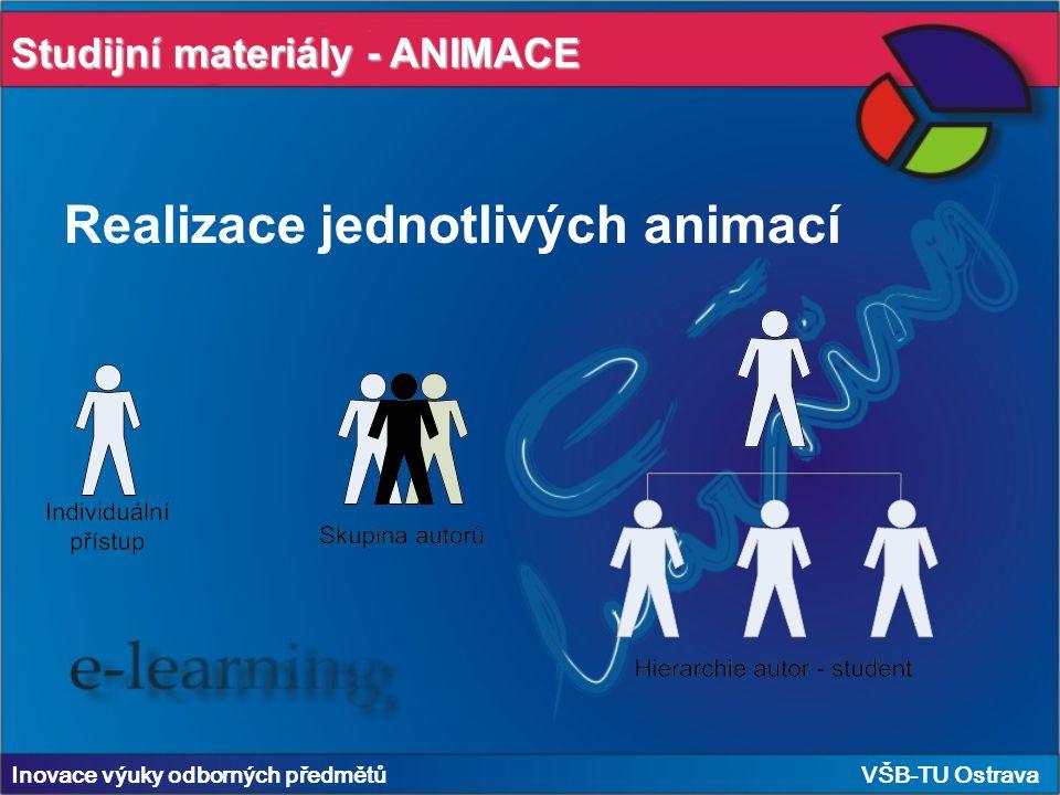 Realizace jednotlivých animací Inovace výuky odborných předmětů VŠB-TU Ostrava Studijní materiály - ANIMACE