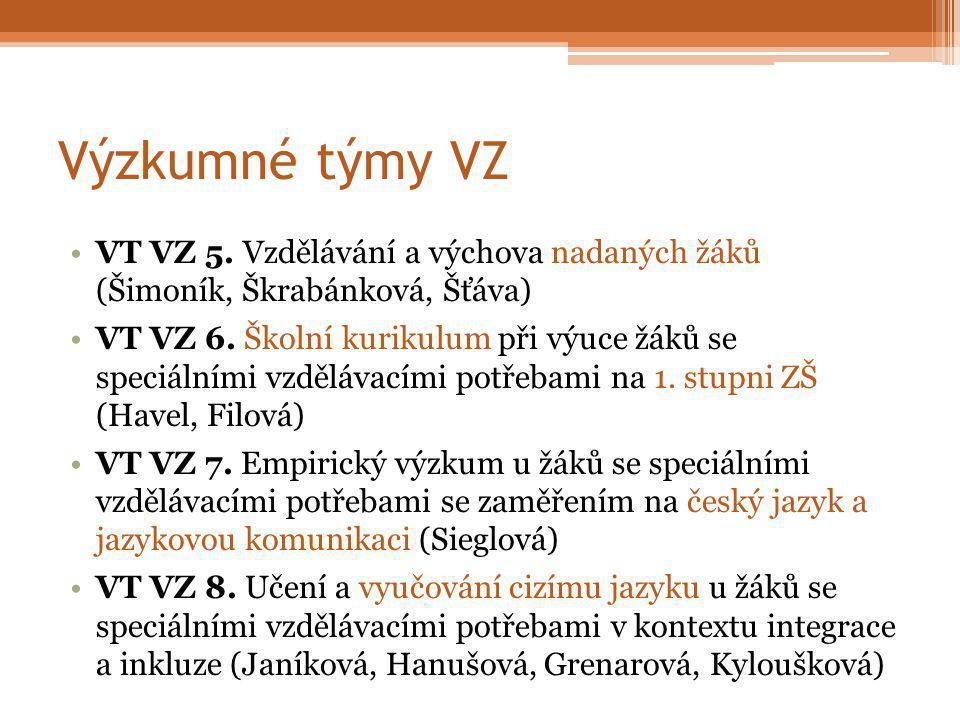 Výzkumné týmy VZ VT VZ 5. Vzdělávání a výchova nadaných žáků (Šimoník, Škrabánková, Šťáva) VT VZ 6.