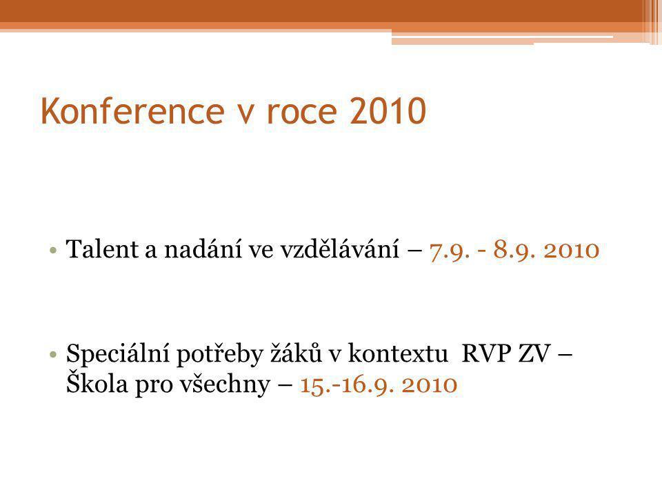Konference v roce 2010 Talent a nadání ve vzdělávání – 7.9.