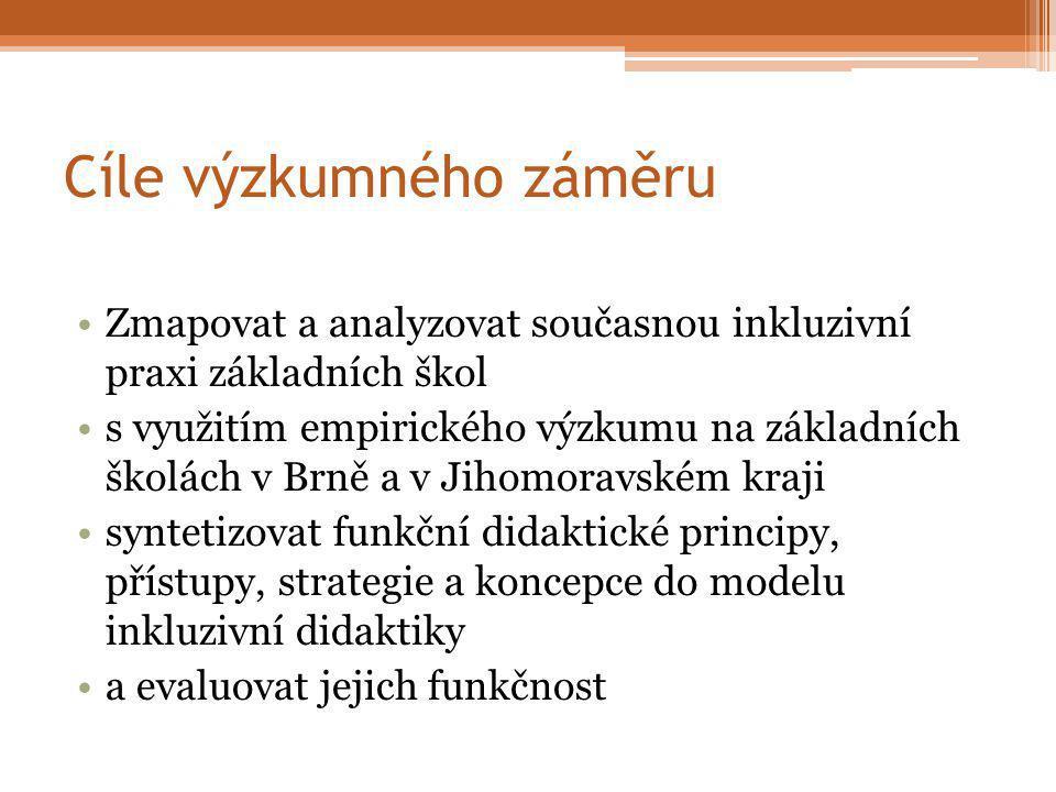 Cíle výzkumného záměru Zmapovat a analyzovat současnou inkluzivní praxi základních škol s využitím empirického výzkumu na základních školách v Brně a v Jihomoravském kraji syntetizovat funkční didaktické principy, přístupy, strategie a koncepce do modelu inkluzivní didaktiky a evaluovat jejich funkčnost