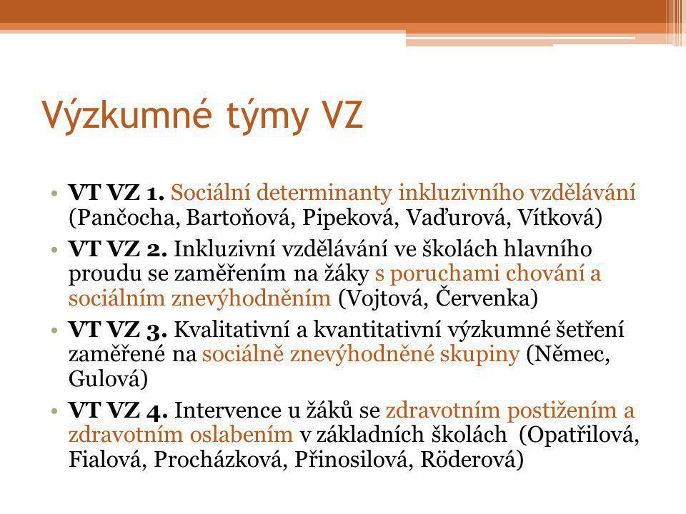 Výzkumné týmy VZ VT VZ 5.Vzdělávání a výchova nadaných žáků (Šimoník, Škrabánková, Šťáva) VT VZ 6.