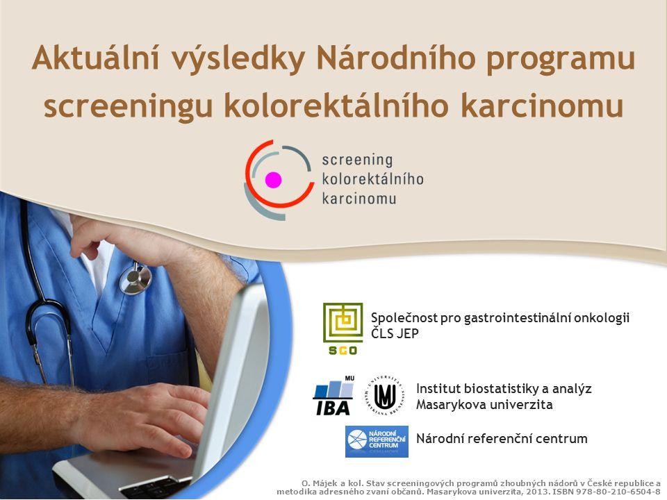 Pokrytí v procentech Muži a ženy od 50 let Celkové pokrytí (2011): 3,9 % (rozsah v okresech ČR: 2,3-5,8 %) Diagnostická kolonoskopie: Podíl vyšetřených v okresech Kolonoskopie: neúplná, sigm.