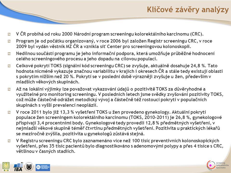 Klíčové závěry analýzy  V ČR probíhá od roku 2000 Národní program screeningu kolorektálního karcinomu (CRC).  Program je od počátku organizovaný, v