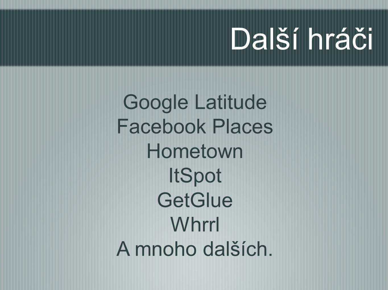 Další hráči Google Latitude Facebook Places Hometown ItSpot GetGlue Whrrl A mnoho dalších.