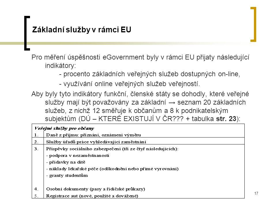 17 Základní služby v rámci EU Pro měření úspěšnosti eGovernment byly v rámci EU přijaty následující indikátory: - procento základních veřejných služeb dostupných on-line, - využívání online veřejných služeb veřejností.