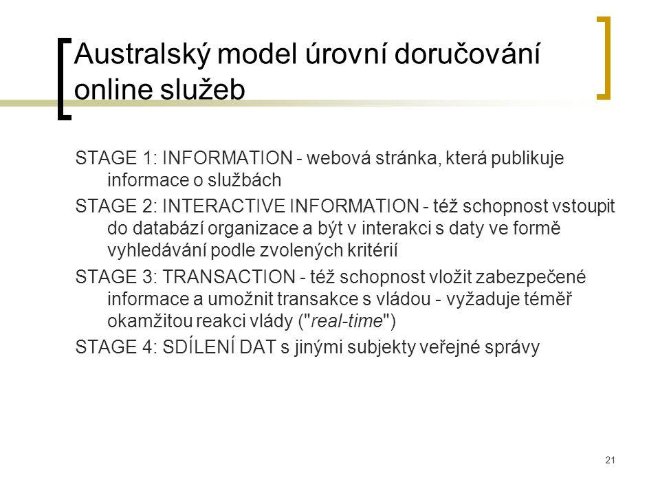 21 Australský model úrovní doručování online služeb STAGE 1: INFORMATION - webová stránka, která publikuje informace o službách STAGE 2: INTERACTIVE INFORMATION - též schopnost vstoupit do databází organizace a být v interakci s daty ve formě vyhledávání podle zvolených kritérií STAGE 3: TRANSACTION - též schopnost vložit zabezpečené informace a umožnit transakce s vládou - vyžaduje téměř okamžitou reakci vlády ( real-time ) STAGE 4: SDÍLENÍ DAT s jinými subjekty veřejné správy
