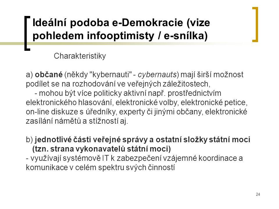 24 Ideální podoba e-Demokracie (vize pohledem infooptimisty / e-snílka) Charakteristiky a) občané (někdy kybernauti - cybernauts) mají širší možnost podílet se na rozhodování ve veřejných záležitostech, - mohou být více politicky aktivní např.