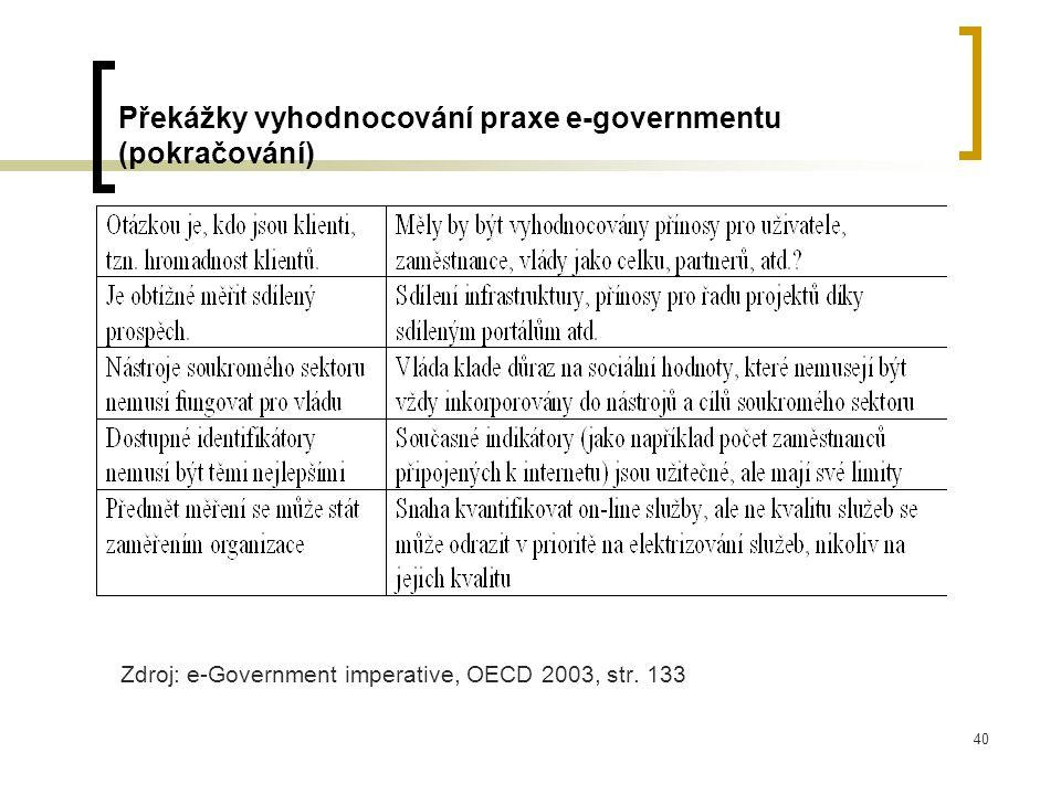 40 Překážky vyhodnocování praxe e-governmentu (pokračování) Zdroj: e-Government imperative, OECD 2003, str.
