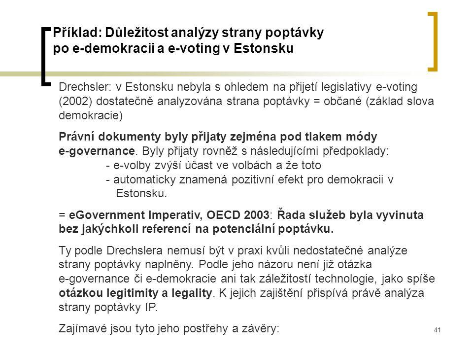 41 Příklad: Důležitost analýzy strany poptávky po e-demokracii a e-voting v Estonsku Drechsler: v Estonsku nebyla s ohledem na přijetí legislativy e-voting (2002) dostatečně analyzována strana poptávky = občané (základ slova demokracie) Právní dokumenty byly přijaty zejména pod tlakem módy e-governance.