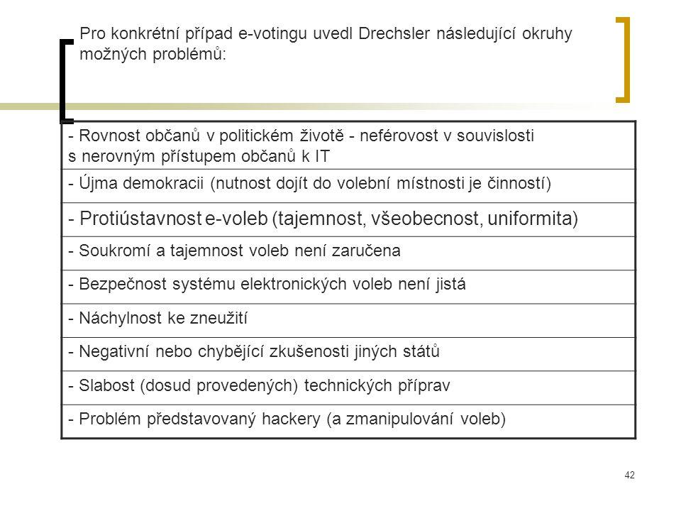 42 Pro konkrétní případ e-votingu uvedl Drechsler následující okruhy možných problémů: - Rovnost občanů v politickém životě - neférovost v souvislosti s nerovným přístupem občanů k IT - Újma demokracii (nutnost dojít do volební místnosti je činností) - Protiústavnost e-voleb (tajemnost, všeobecnost, uniformita) - Soukromí a tajemnost voleb není zaručena - Bezpečnost systému elektronických voleb není jistá - Náchylnost ke zneužití - Negativní nebo chybějící zkušenosti jiných států - Slabost (dosud provedených) technických příprav - Problém představovaný hackery (a zmanipulování voleb)