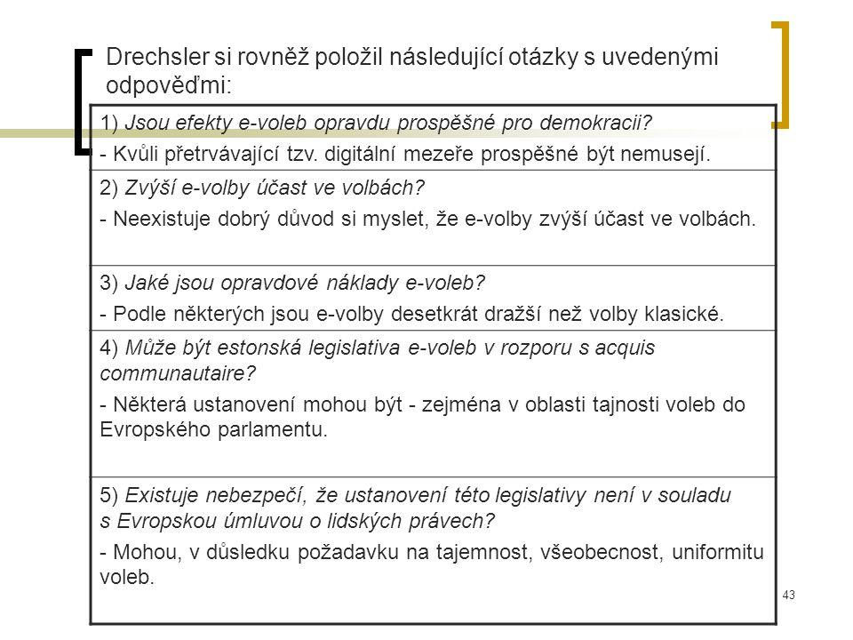 43 Drechsler si rovněž položil následující otázky s uvedenými odpověďmi: 1) Jsou efekty e-voleb opravdu prospěšné pro demokracii.