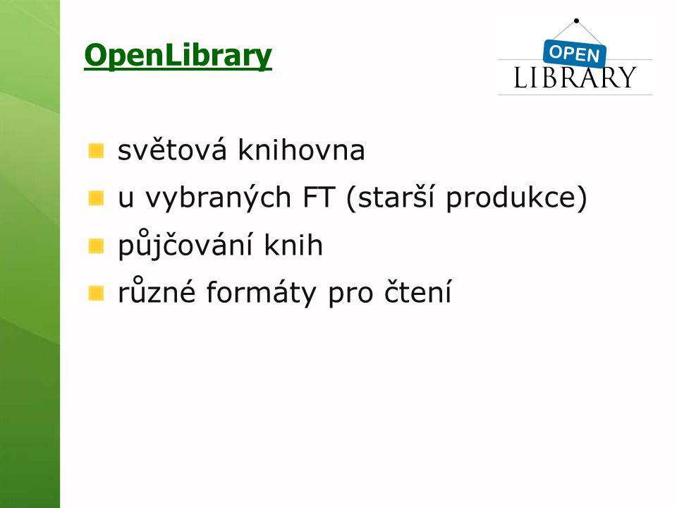 OpenLibrary světová knihovna u vybraných FT (starší produkce) půjčování knih různé formáty pro čtení