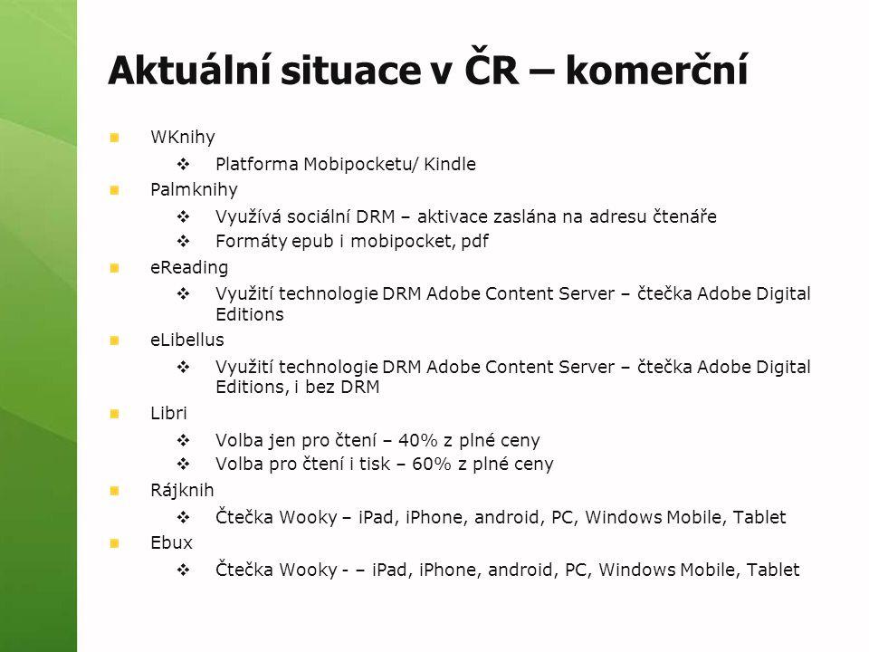 Aktuální situace v ČR – komerční WKnihy  Platforma Mobipocketu/ Kindle Palmknihy  Využívá sociální DRM – aktivace zaslána na adresu čtenáře  Formát