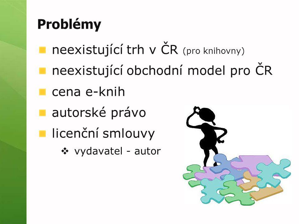 Problémy neexistující trh v ČR (pro knihovny) neexistující obchodní model pro ČR cena e-knih autorské právo licenční smlouvy  vydavatel - autor