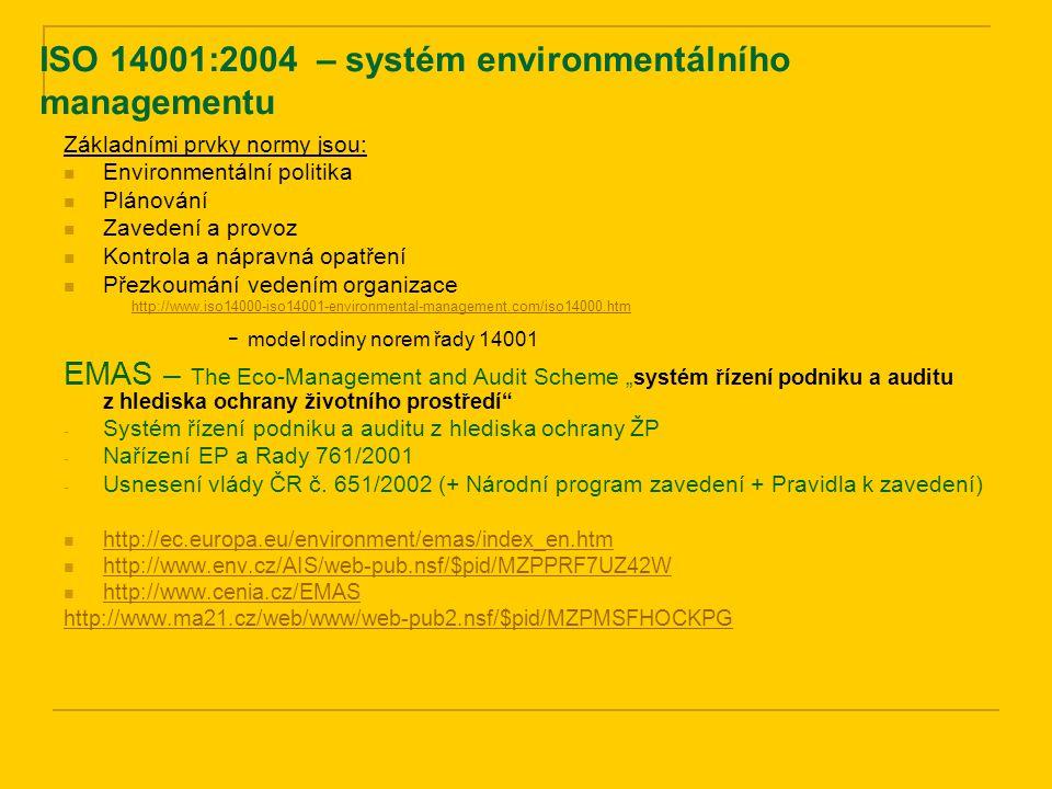 ISO 14001:2004 – systém environmentálního managementu Základními prvky normy jsou: Environmentální politika Plánování Zavedení a provoz Kontrola a náp