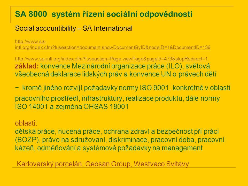 SA 8000 systém řízení sociální odpovědnosti http://www.sa- intl.org/index.cfm?fuseaction=document.showDocumentByID&nodeID=1&DocumentID=136 http://www.